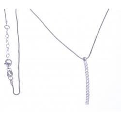 Collier argent rhodié 3g - zircons - 42+3cm
