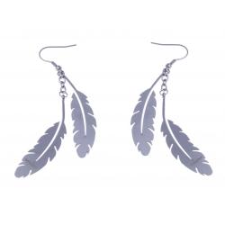 """Boucles d'oreille acier - """"plume"""""""