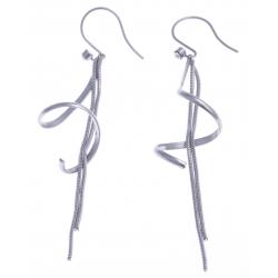 Boucles d'oreille acier - zircons - chaîne 70 mm