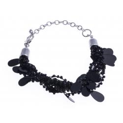 Bracelet fantaisie breloques et perles noirs 17+5cm