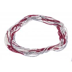 Sautoir fantaisie - 4 rangs - métal argenté - perles blanches - rouges - 65cm