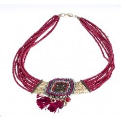 Collier fantaisie - plastron - métal doré - perles multicolores - breloques et p