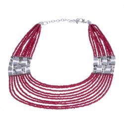 Collier fantaisie - plastron - métal argenté - perles multicolores - extension 6