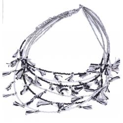 Collier fantaisie - métal argenté - perles noires et pompons - 42+7cm