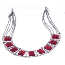Collier fantaisie - plastron - métal argenté - résine rouge - extension 6cm