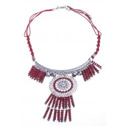 Collier fantaisie - métal argenté - perles rouges - 40+8cm