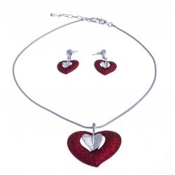 """Parure fantaisie - collier """"coeur rouge"""" - 41+8 cm + boucles assorties"""