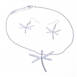 """Parure fantaisie - collier """"libellules"""" - 41+8 cm + boucles assorties"""