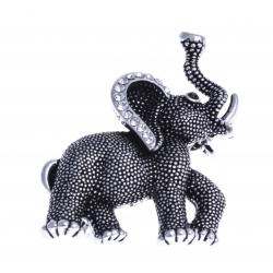 """Broche fantaisie """"éléphant"""" - vieil argent - strass"""