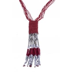 Sautoir fantaisie - métal argenté - perles rouges - coton - 58+8cm
