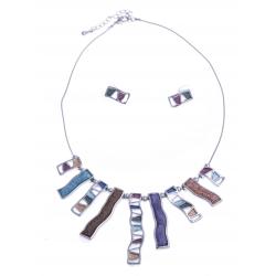 Parure fantaisie - collier résine multicolore - 41+8 cm + boucles assorties