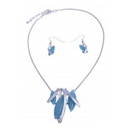 Parure fantaisie - collier résine bleue - 41+8 cm + boucles assorties