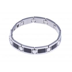 Bracelet acier homme - fibre de carbone - 22cm