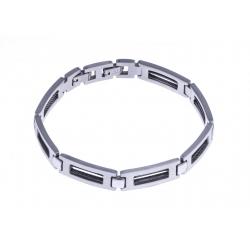 Bracelet acier homme - câble noir - 23cm - largeur 5mm