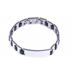 Bracelet acier homme - silicone - 21,5cm