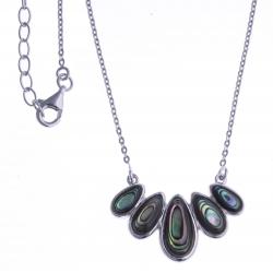 Collier argent rhodié 4,5g - nacre abalone 42 + 3cm
