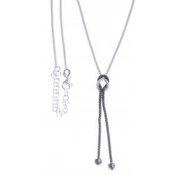 """Collier argent rhodié 4,3g - """"n?ud"""" - 2 tons noir et blanc - 40+4cm"""