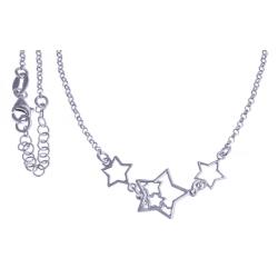 """Collier argent rhodié 4,1g - """"étoiles"""" - 40+4cm"""