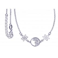 """Collier argent rhodié 4,1g - """"fleurs"""" - 40+4cm"""