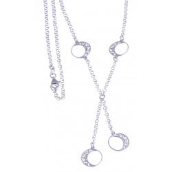 """Collier argent rhodié 5,4g - """"4 ronds"""" - 43cm"""