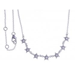 """Collier argent rhodié 2,6g - """"étoiles"""" - zircons 40+1,5+1,5cm"""