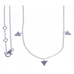 """Collier argent rhodié 2g - """"triangles"""" - zircons 40+1,5+1,5cm"""