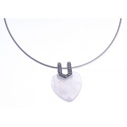 Collier argent rhodié 6,9g - quartz rose - zircons - 38+5cm