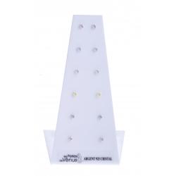 Présentoir 6 Bo argent 2,4g - cristaux de Swarovski