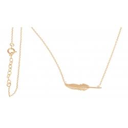 """Collier plaqué or - """"plume"""" - 38+3cm"""