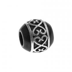 Charm en argent rhodié 1,3g - céramique noire