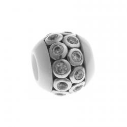 Charm en argent rhodié 1,2g - céramique blanche - zircons