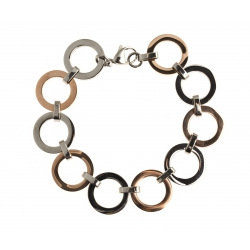 Bracelet acier - 2 tons rosŽ - blanc - 20cm