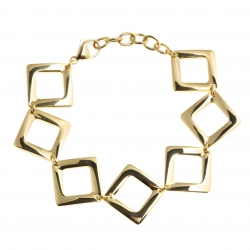 """Bracelet acier doré - """"losanges"""" - 18,5+4cm"""
