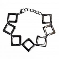"""Bracelet acier noir - """"losanges"""" - 18,5+4cm"""