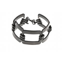 Bracelet acier noir - 19+4cm