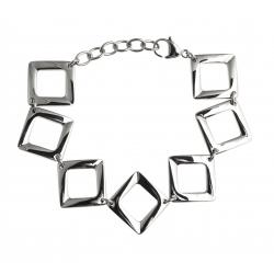 """Bracelet acier - """"losanges"""" - 18,5+4cm"""