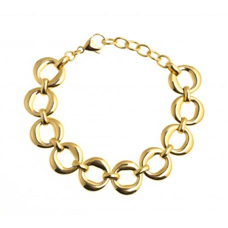 """Bracelet acier dorŽ - """"ronds"""" - 17+4cm"""