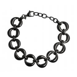 """Bracelet acier noir - """"ronds"""" - 17+4cm"""