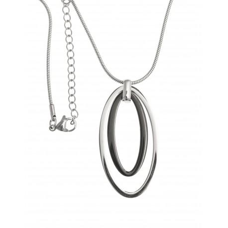 Collier acier - 2 tons noir et blanc - 45+5cm