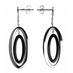 Boucles d'oreille acier - 2 tons - noir et blanc