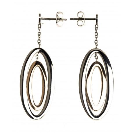 Boucles d'oreille acier - 2 tons - rosŽ et blanc