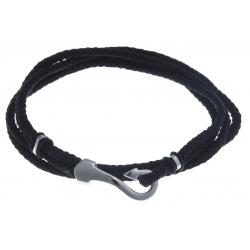 Bracelet acier homme - crochet  -  2 tours  - cordon noir - 40cm