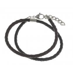 Bracelet acier homme - 2 tours cuirs  marrons et noirs - 40+3cm