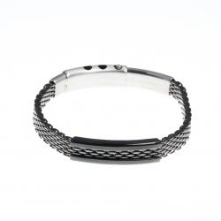 Bracelet acier homme - 2 tons noir et blanc - homme - réglable