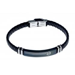 Bracelet acier homme - 2 tons noir et blanc - homme - cuir tressé noir - 21 cm