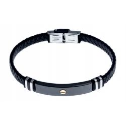Bracelet acier 2 tons noir et blanc - homme - vis en or 9KT - cuir tressé noir -