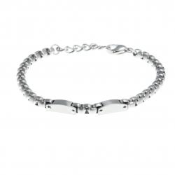 Bracelet acier homme - effet mat - 2 composants de 1,5cm -  20+3cm