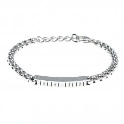Bracelet acier homme - plaque -  20+3cm