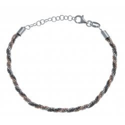 Bracelet argent rhodié 4,6g - 3 tons blanc - rosé - noir - 17+3cm