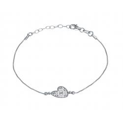 Bracelet argent rhodié 1,8g - coeur filigrané - 17+3cm